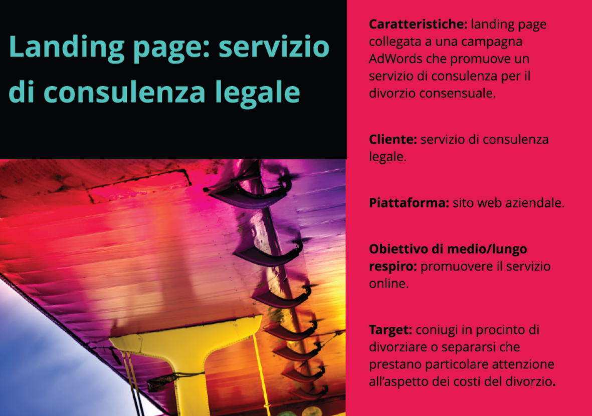 Landing page per consulenza legale. Obiettivo: conversion rate optimization